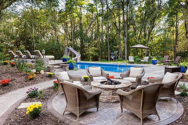 Outdoor Living - Pool Area Design Firepit