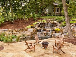 Outdoor Living - Pool Area Design Waterfall